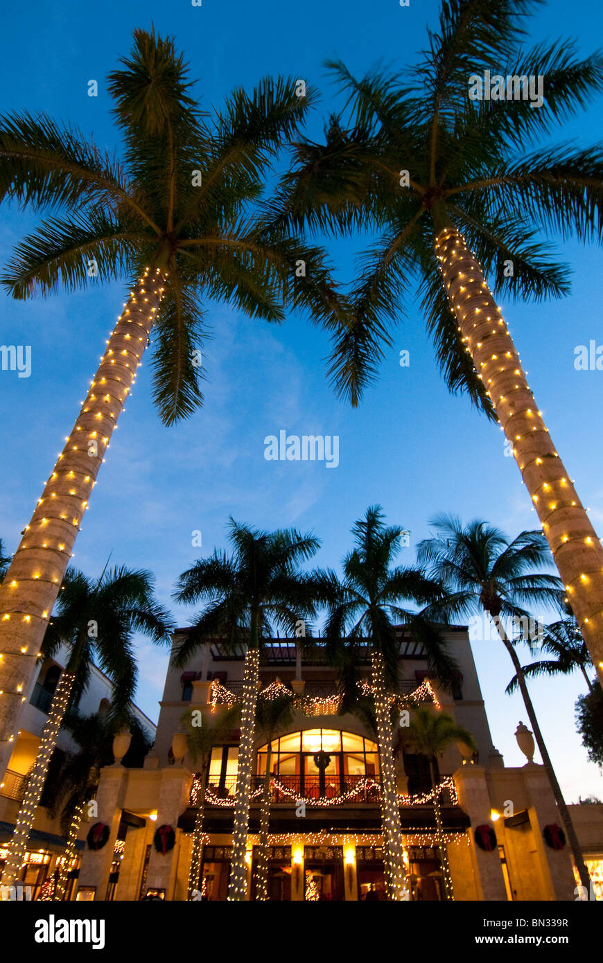 christmas decorations on 5th avenue south naples florida usa stock image
