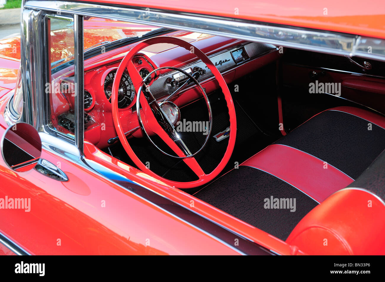 View of interior of a classically restored 1957 Chevy BelAir - Stock Image