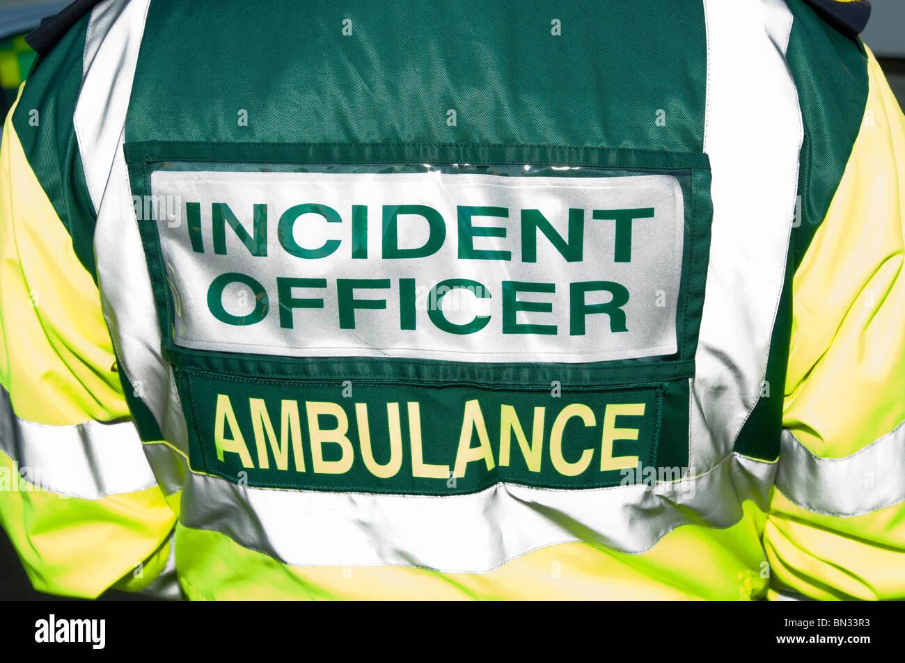 Back of British Ambulance Incident Officer - Stock Image