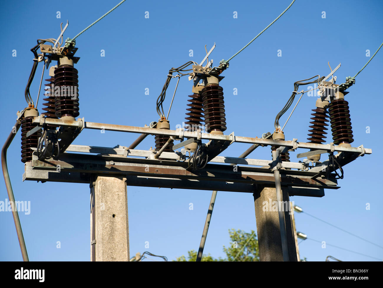 high-voltage substation on blue sky background with switch and Stock ...