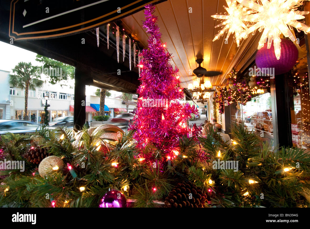 Christmas Lighting And Decorations On Las Olas Boulevard In Fort Lauderdale Florida Usa