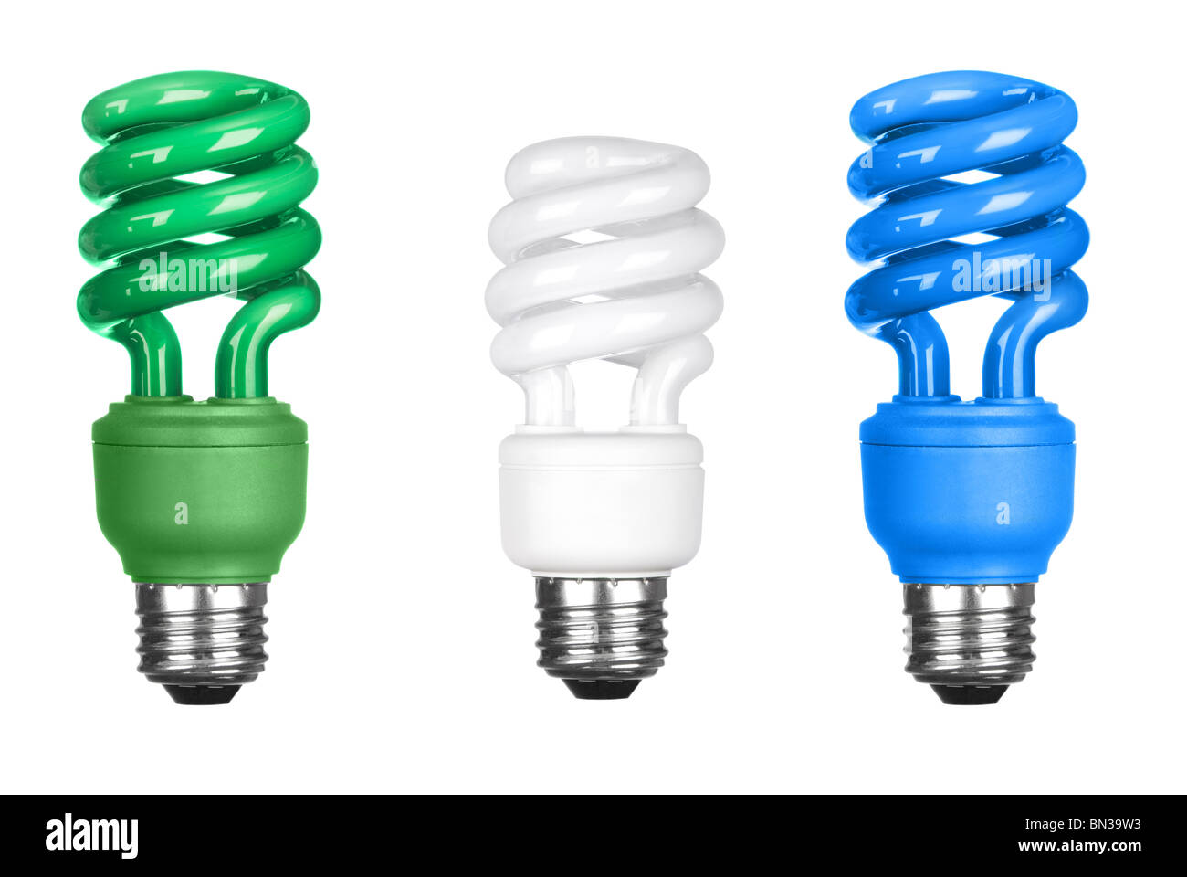 Three energy efficient spiral light bulbs isolated on white. - Stock Image