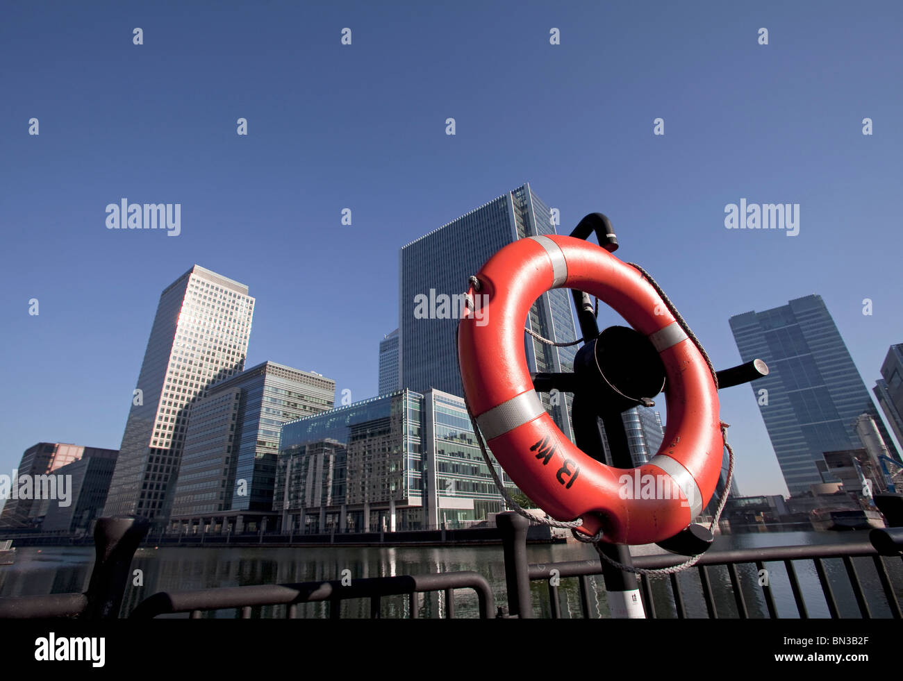 A Lifebelt in Canary Wharf, the new financial centre in the Docklands of London - Stock Image