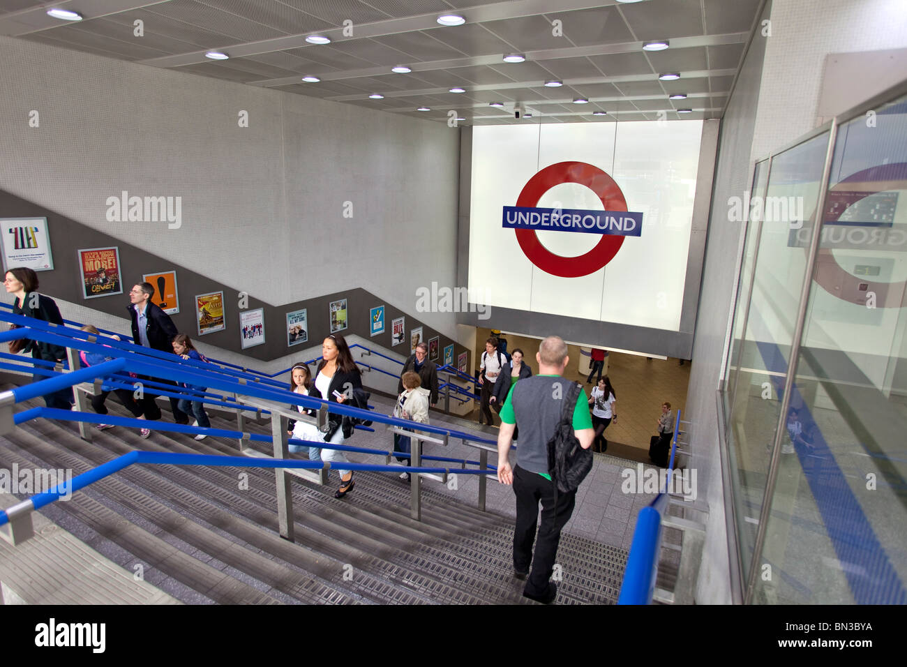 Entrance of an underground station in London - Stock Image