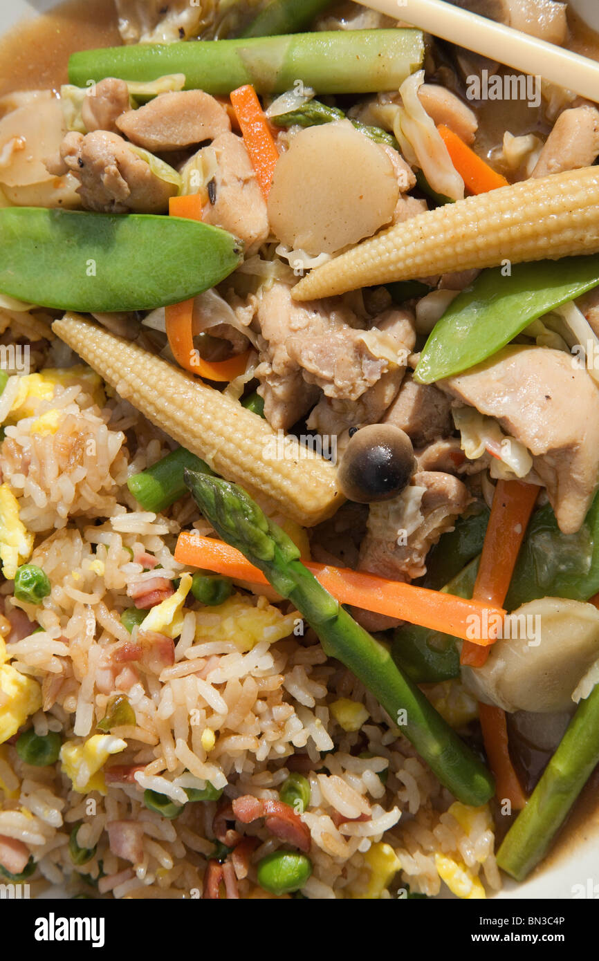close-up plate of colorful Chinese chicken and vegetable stir fry with rice - Stock Image