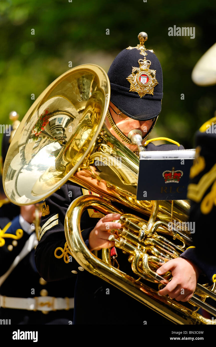 Band member - The Royal Logistic Corps on parade. - Stock Image