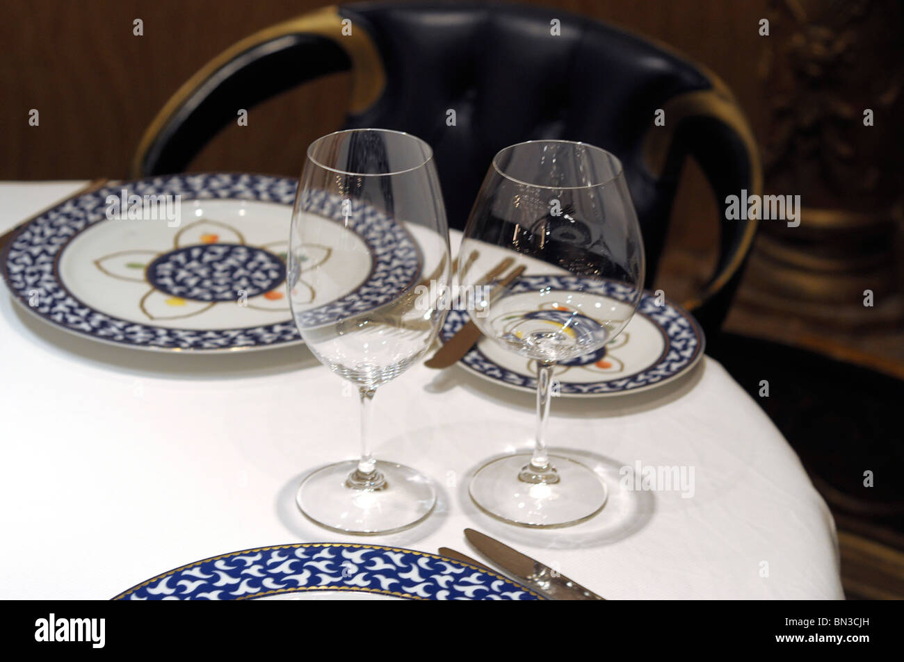 Empty Plates and Glasses, Place Setting - Stock Image