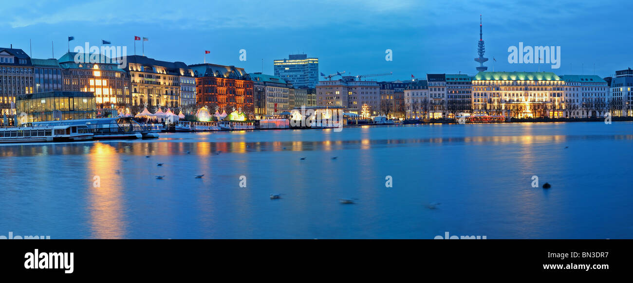 View of the shore of the Alster, Hamburg, Germany Stock Photo