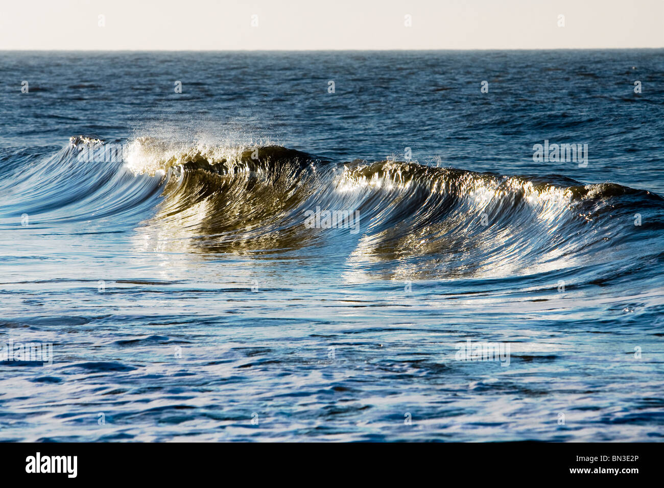 Wave breaking in North Sea, Sylt, Germany, close-up - Stock Image