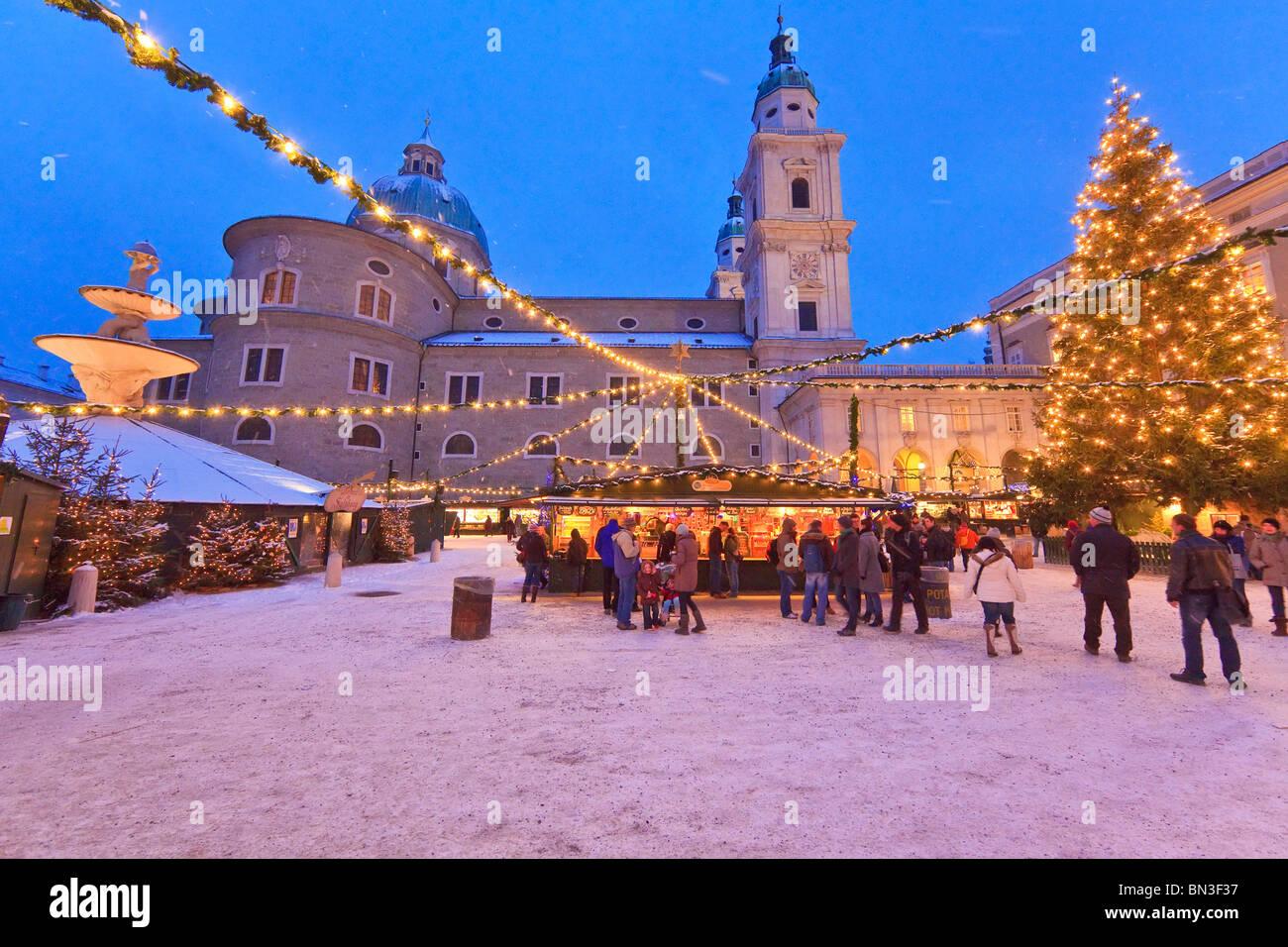 Salzburg Christmas Market.Christmas Market And Salzburg Cathedral Salzburg Austria