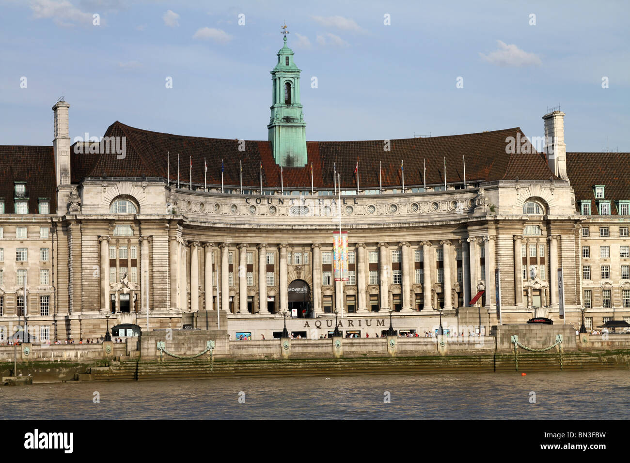 The old County Hall building and London Aquarium in London, England - Stock Image