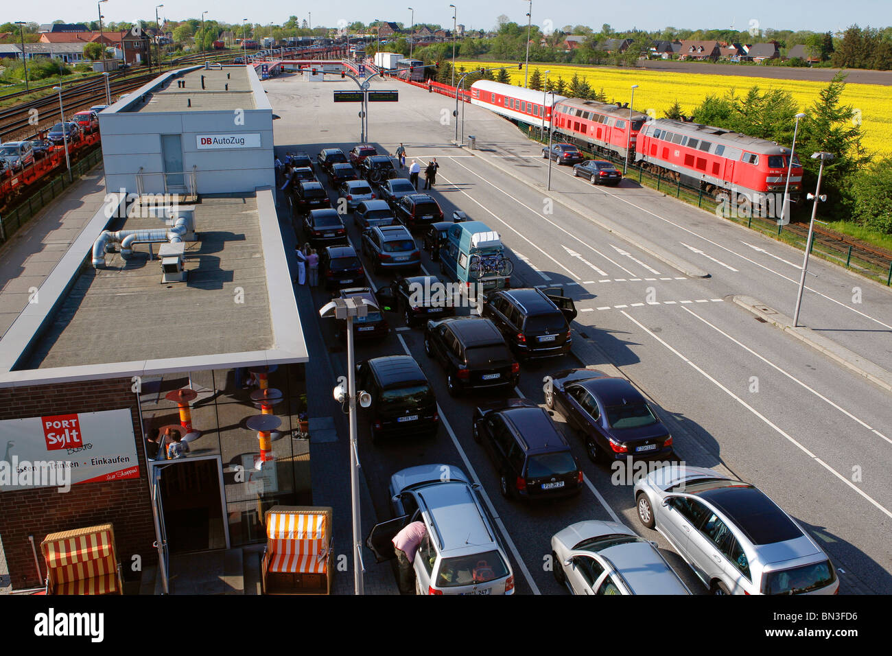 SyltShuttle, car terminal Niebuell, Schleswig-Holstein, Germany - Stock Image