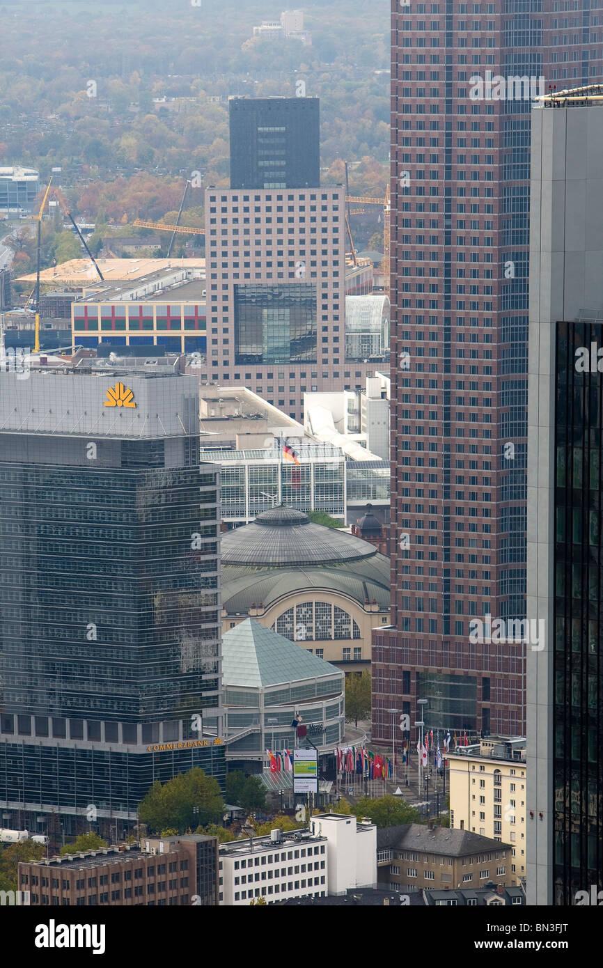 Festhalle and highrises, Frankfurt am Main, Hesse, Germany Stock Photo