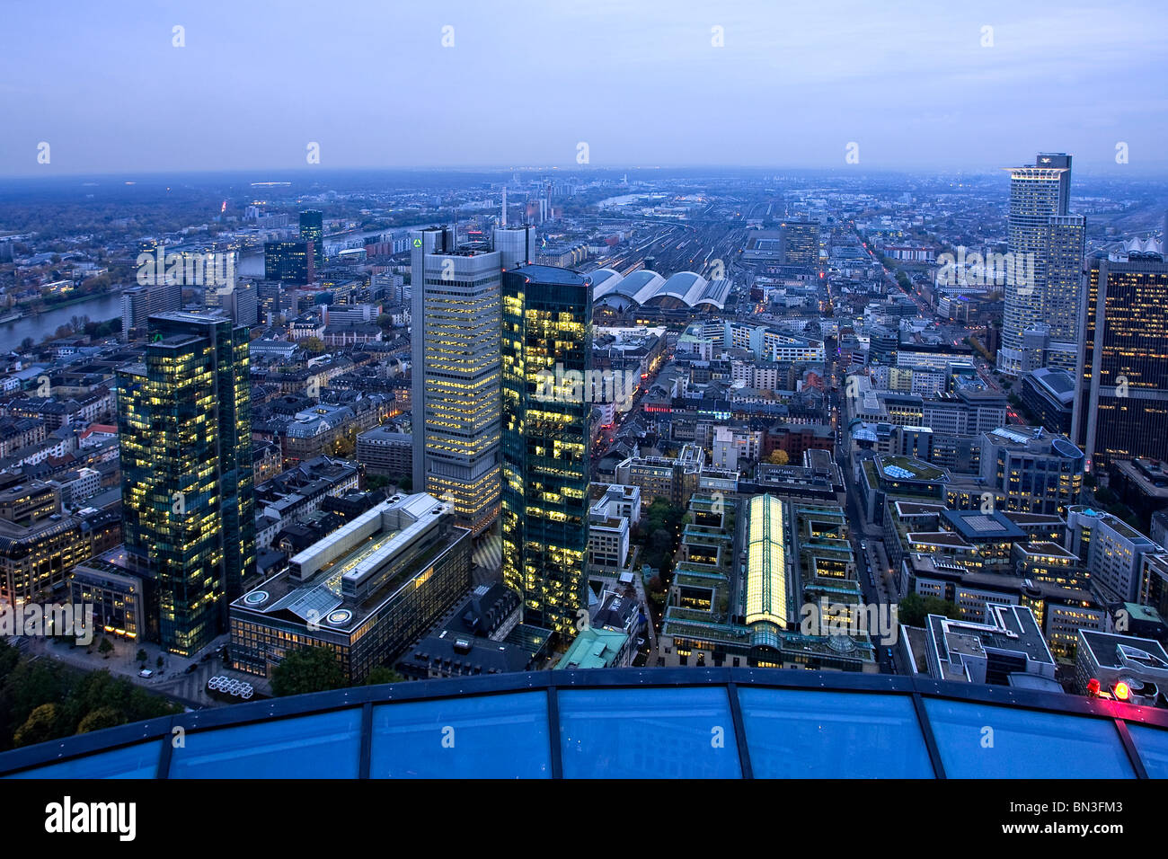 Financial district and main station, Frankfurt am Main, Hesse, Germany - Stock Image