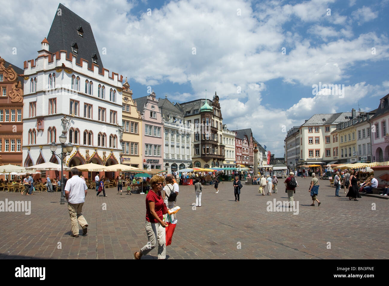 Main market with Steipe, Trier, Rhineland-Palatinate, Germany Stock Photo