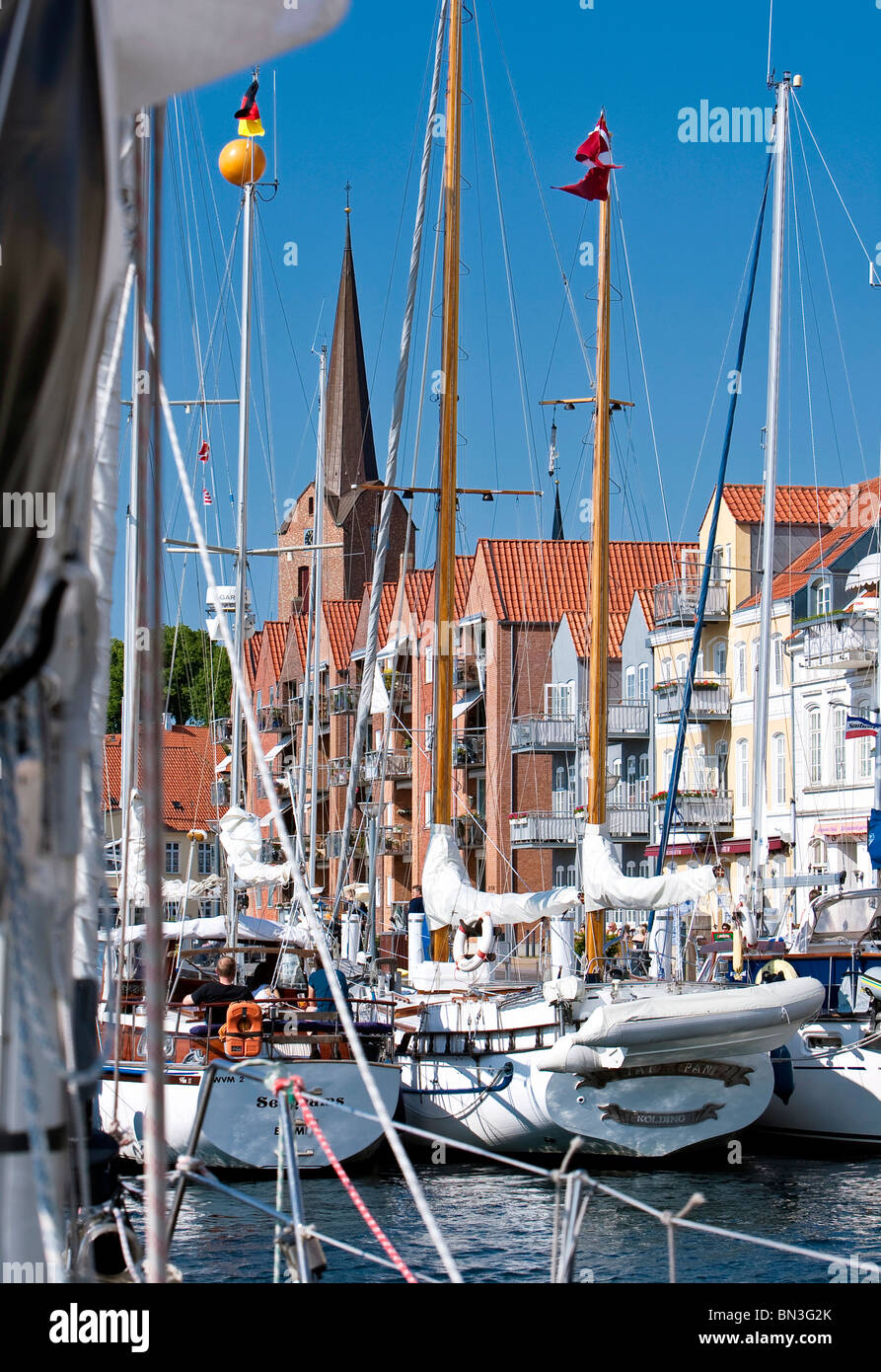Sailing ships in harbour, Sonderburg, Denmark, Europe - Stock Image