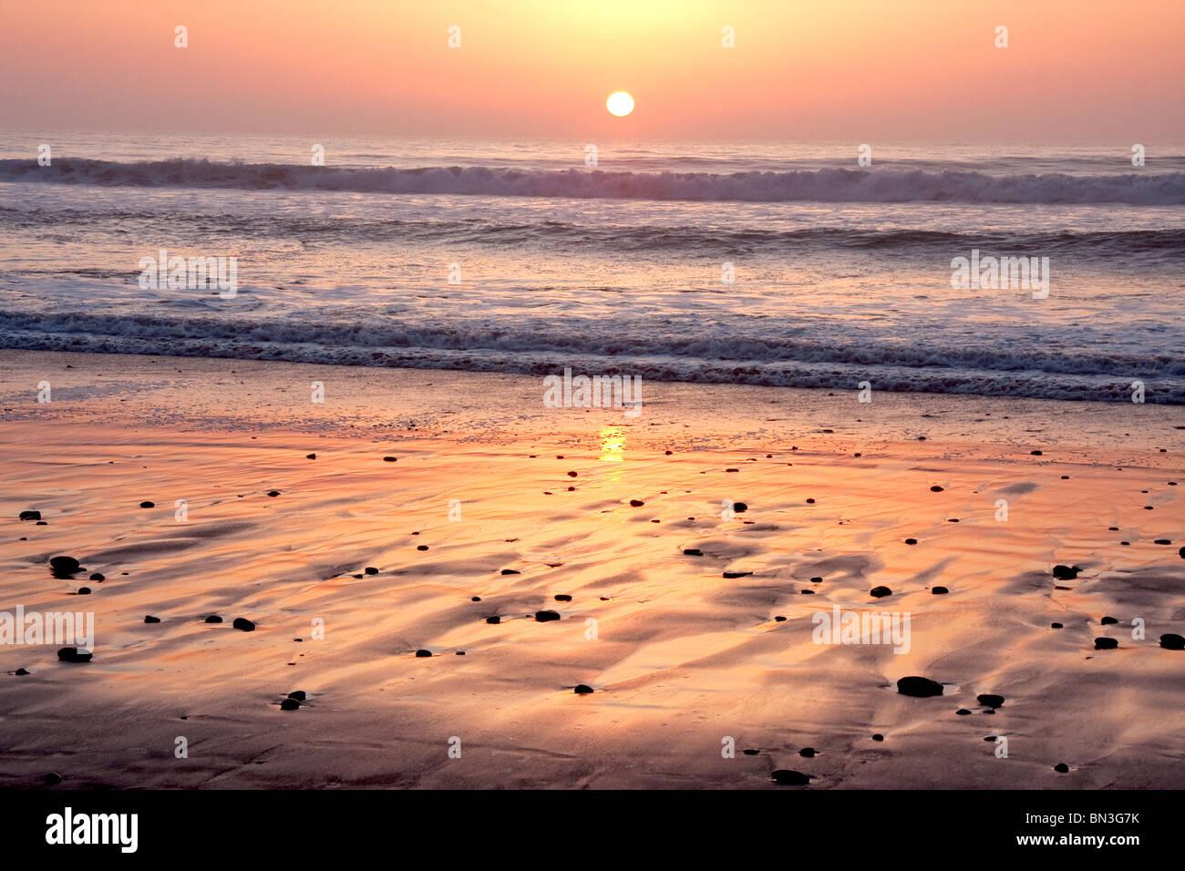 La Jolla's Torrey Pines beach at sunset, California - Stock Image