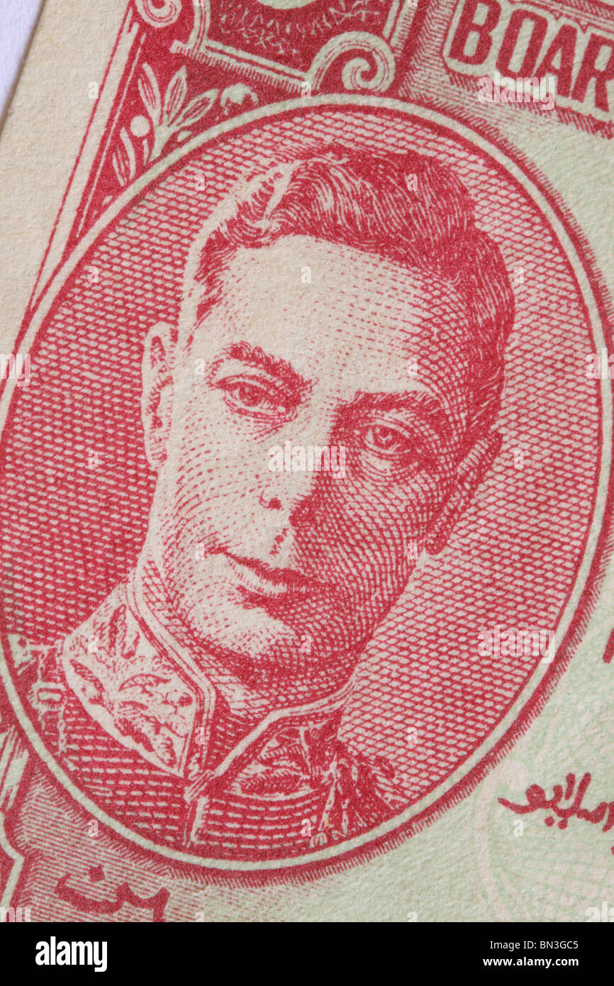 King George VI King George the Sixth shown on a Malaya States banknote dating from 1941 during 2nd World War WW2 - Stock Image