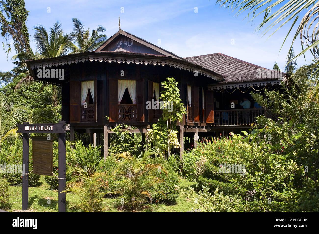 Malaysian house at the openair museum Sarawak Cultural Village, Sarawak, Malaysia - Stock Image