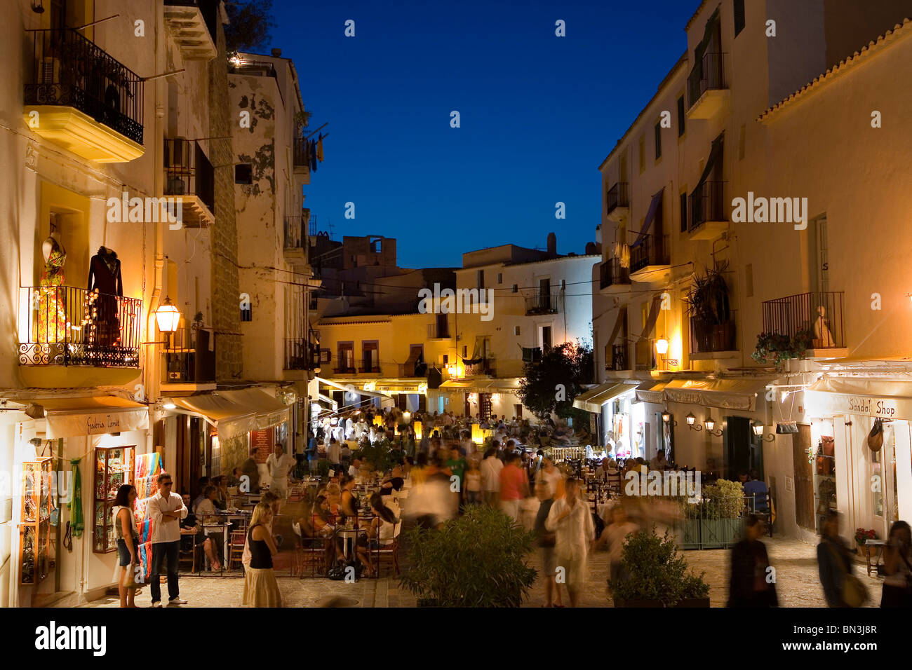 shops and restaurants in the old town of ibiza city ibiza spain stock photo 30198359 alamy. Black Bedroom Furniture Sets. Home Design Ideas