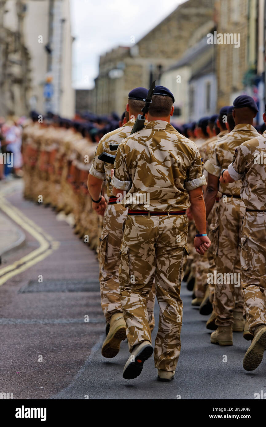 The Royal Logistic Corps on parade. - Stock Image