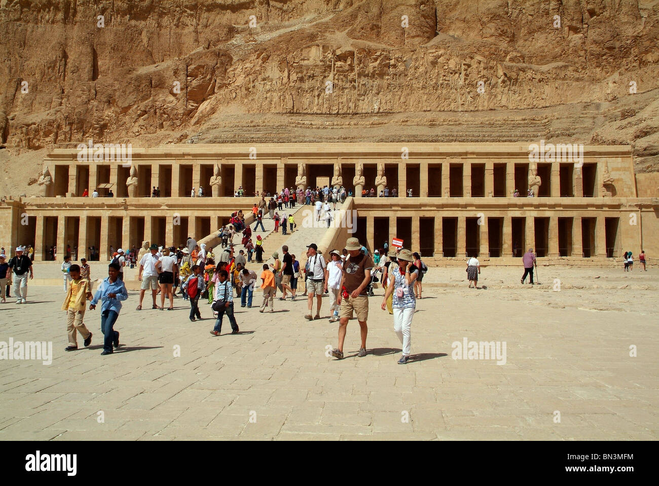 Tourists at the Hatschepsut Temple, Luxor, Egypt Stock Photo