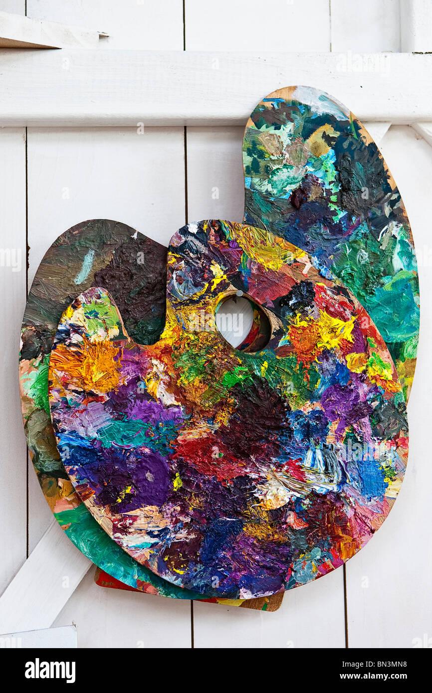 Coloured palette - Stock Image