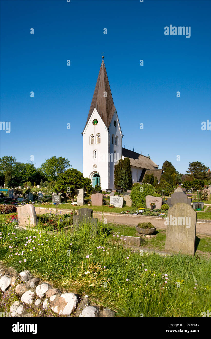 St. Clement Church and cemetery, Nebel, Amrum, Germany - Stock Image