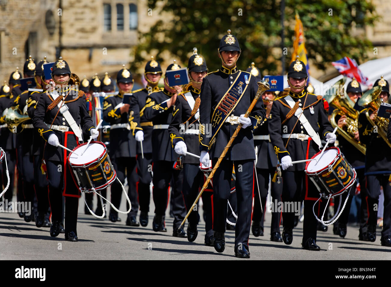 The Royal Logistic Corps Band on parade. - Stock Image