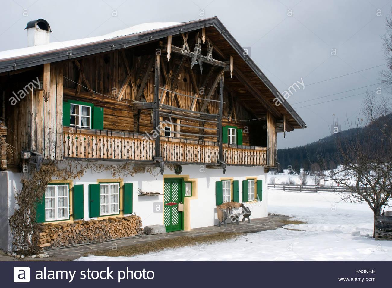 Historica farmhouse in Moos, Leutasch, Tyrol, Austria - Stock Image