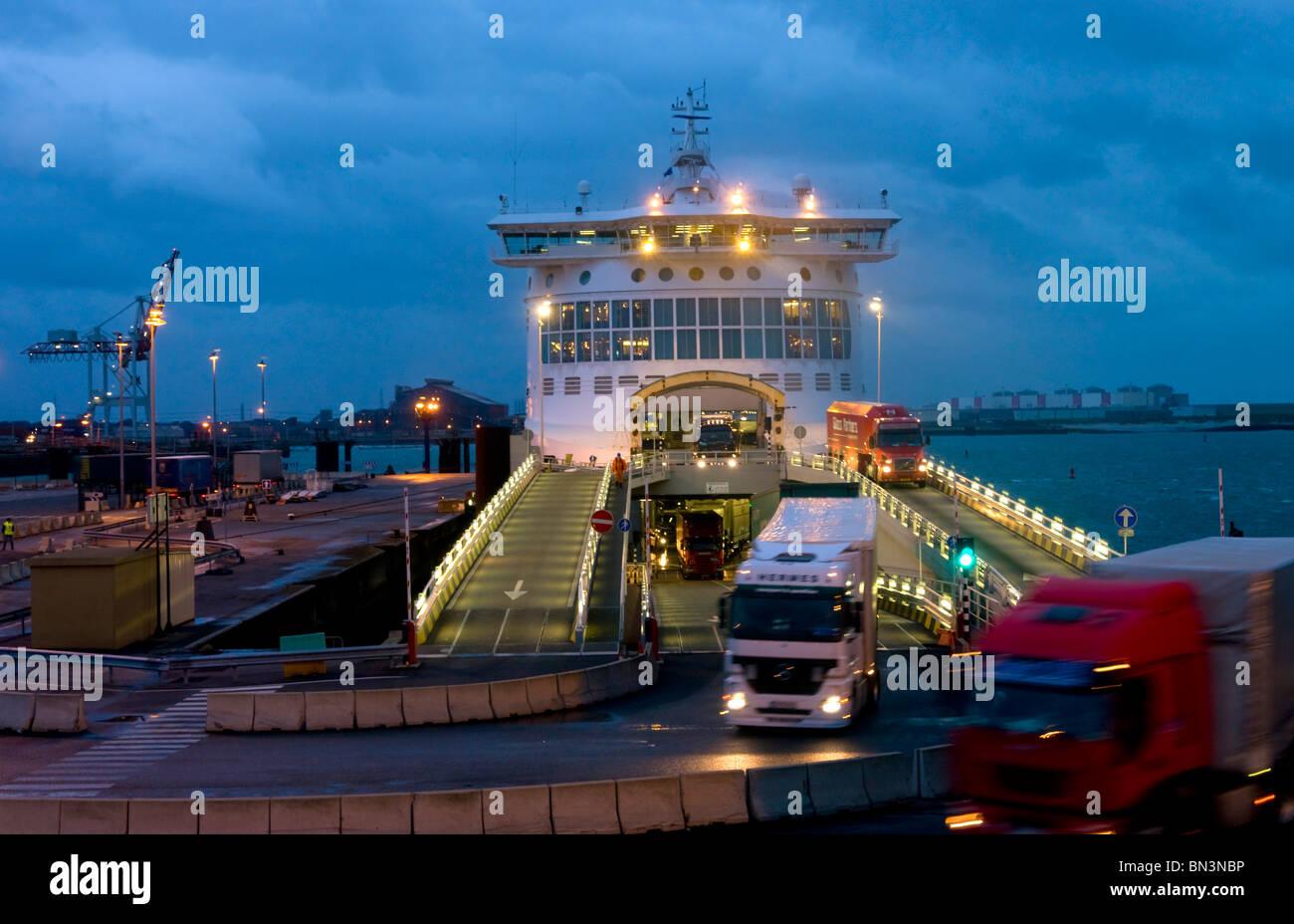 Car ferry in harbour, Dunkirk, Nord-Pas-de-Calais, France, Europe - Stock Image