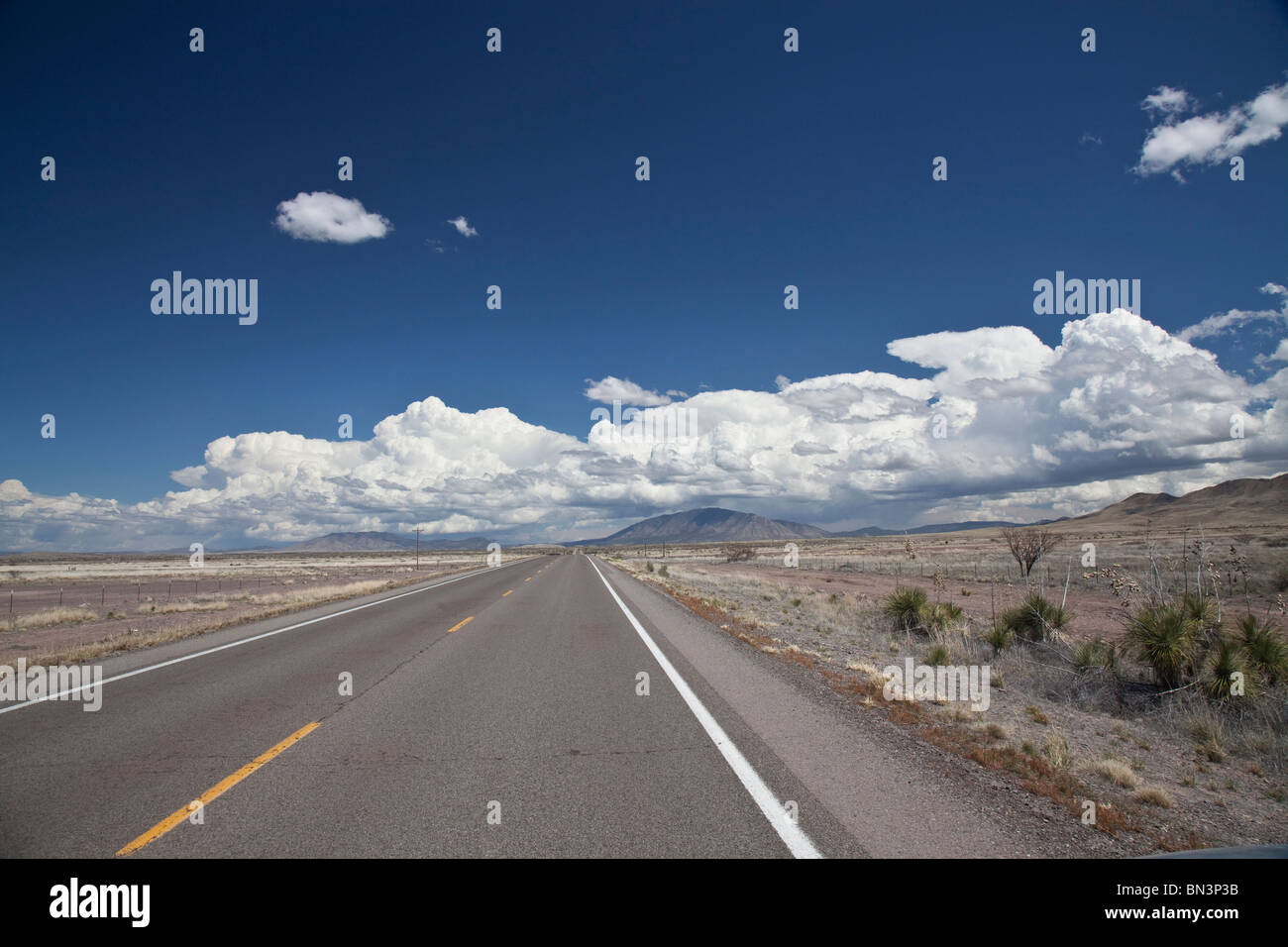 Country road, New Mexico, USA, vanishing point - Stock Image