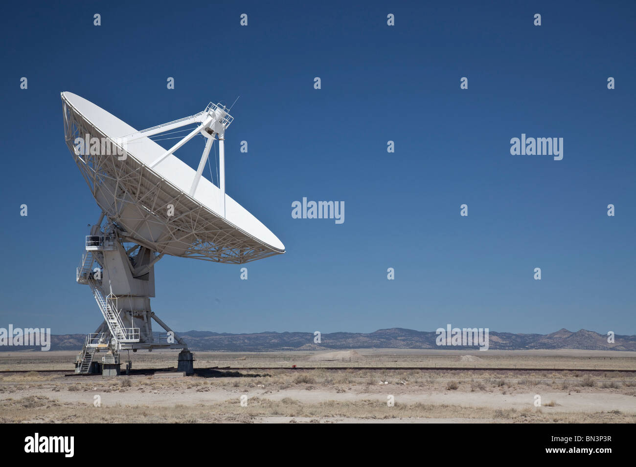 Radio Telescope in the Very Large Array, New Mexico, USA, low angle view Stock Photo