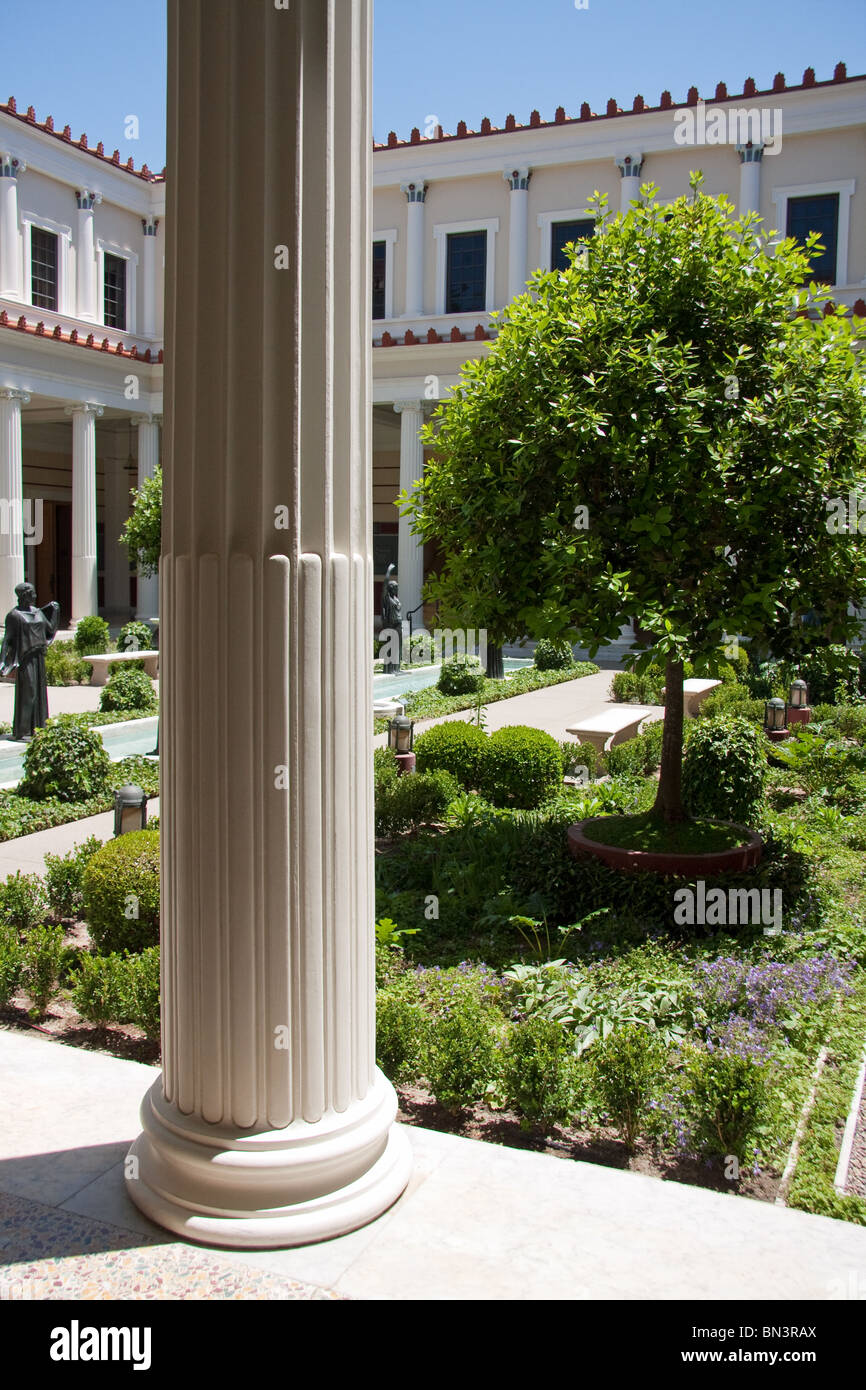 View of the Inner peristyle inside Malibu's Getty Villa - Stock Image