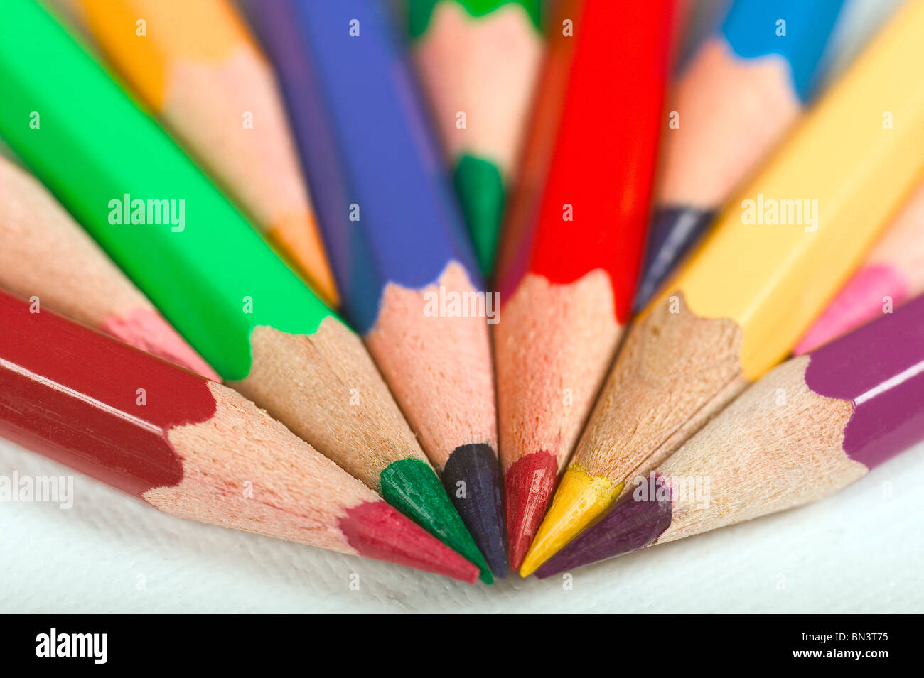 Close-up of colored pencils - Stock Image