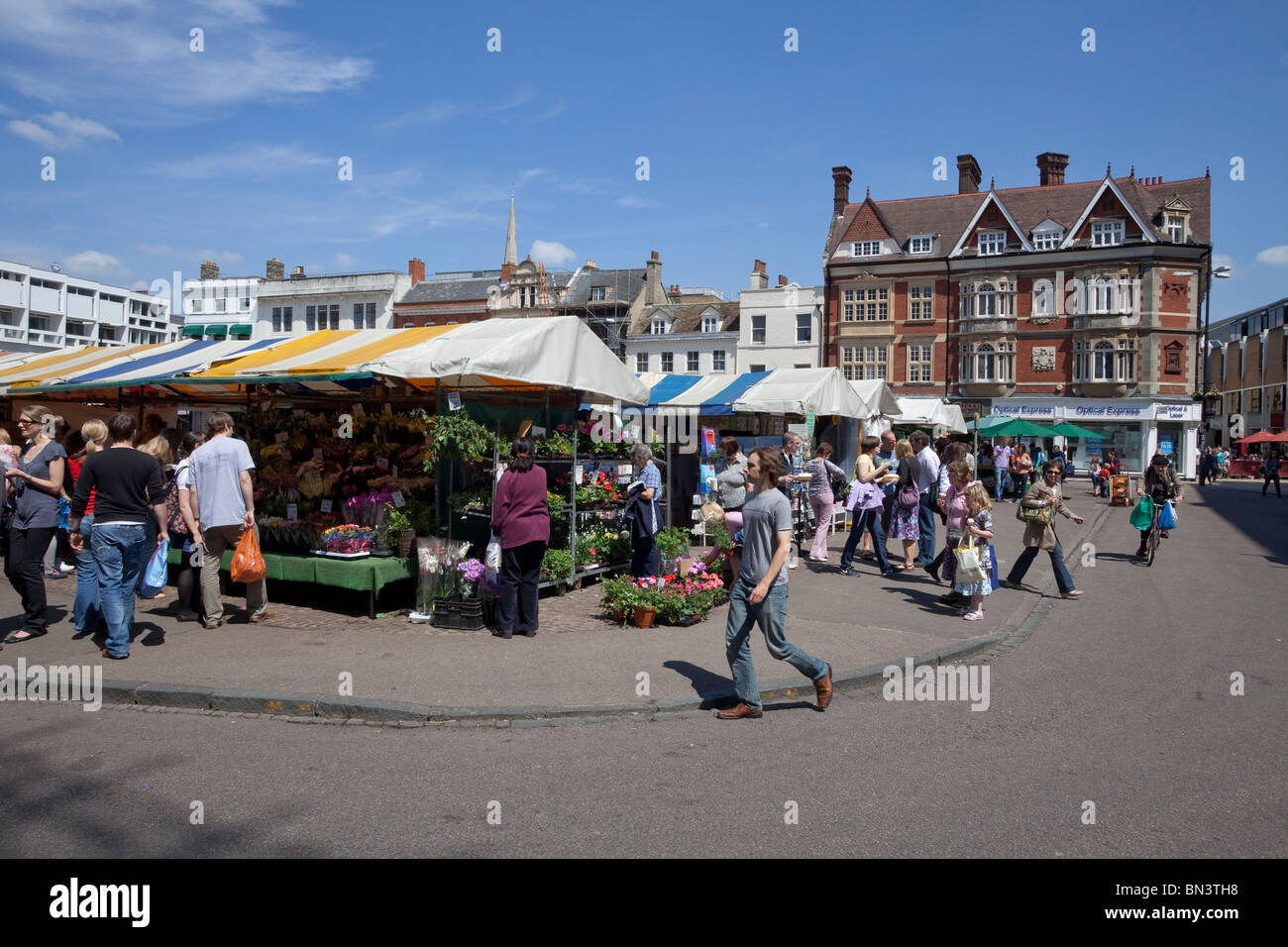 Market in the university city of Cambridge, England - Stock Image