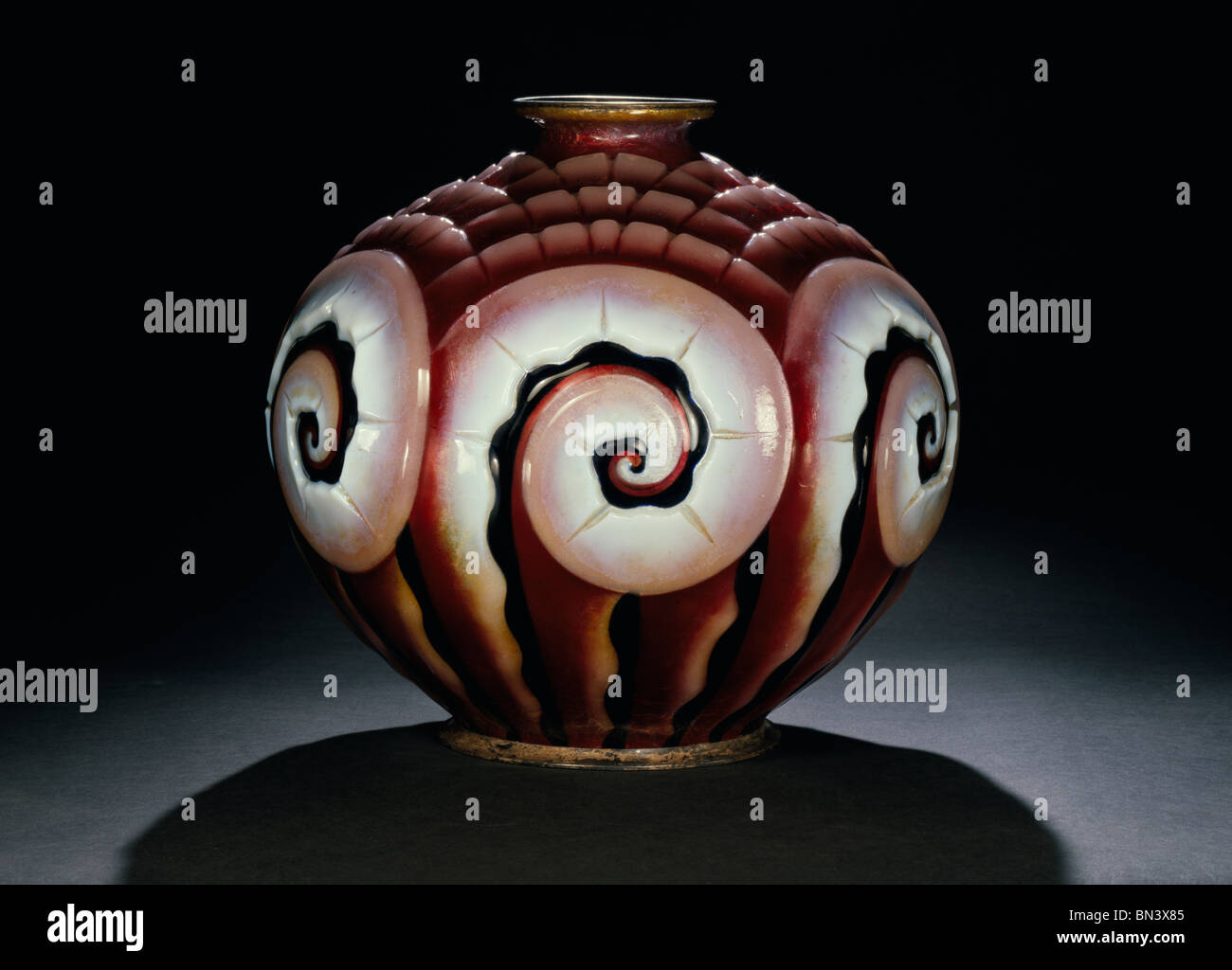 Vase signed by Camille Fauré France c 1925 - Stock Image