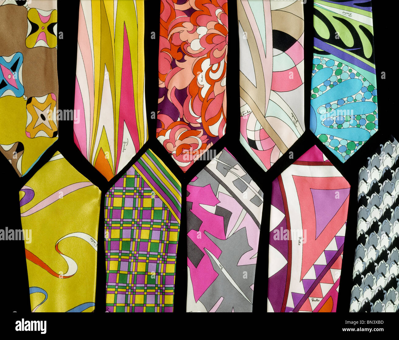 Ten ties, by Emilio Pucci. Italy, 1960 - Stock Image