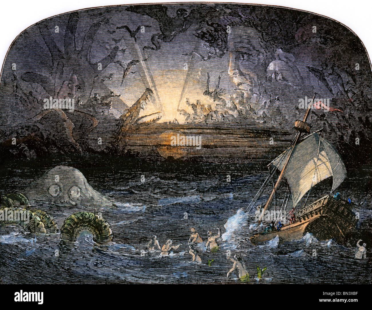 Terrors in the Sea of Darkness. Hand-colored woodcut - Stock Image