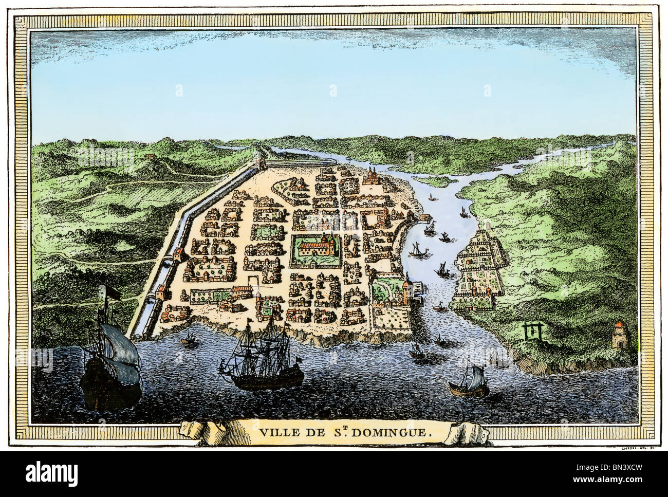 Busy port of Santo Domingo on Hispaniola, early 1700s. Hand-colored woodcut - Stock Image