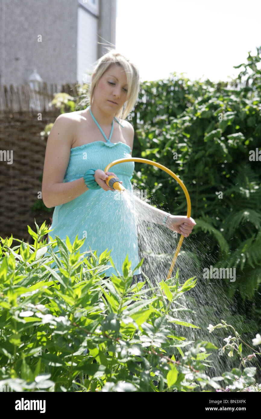 Woman watering garden with hosepipe. - Stock Image