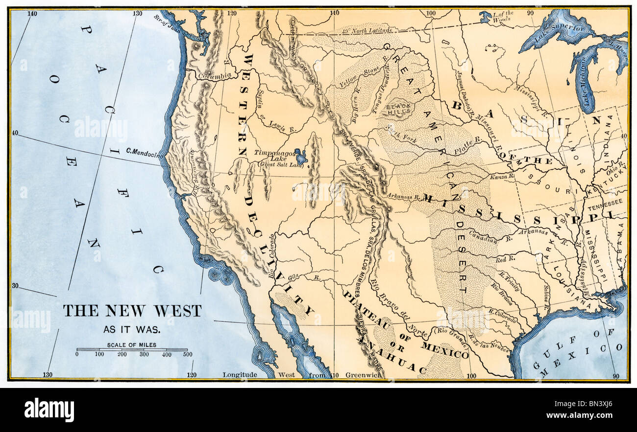 Map of the western frontier in the United States, 1800s. Hand-colored woodcut - Stock Image