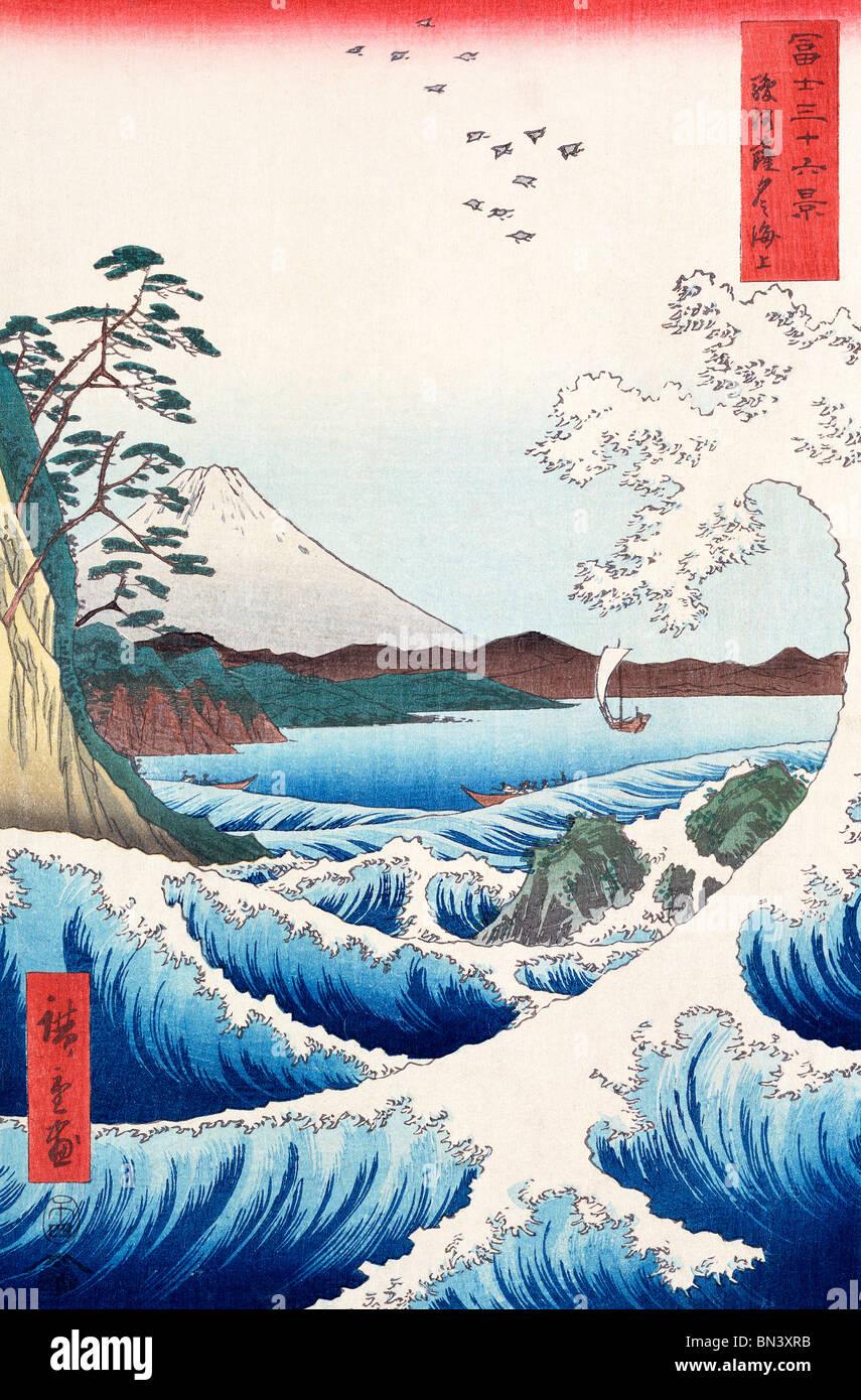 Fuji seen from Satta in Suruga Province, by Utagawa Hiroshige. Japan, 1858 - Stock Image