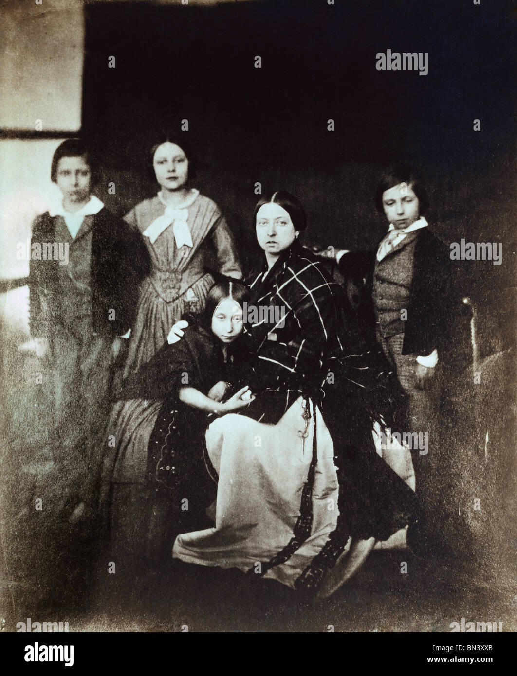 Prince of Wales, Princess Royal, Princess Alice, Queen Victoria and Prince Alfred, photo Roger Fenton. England, - Stock Image