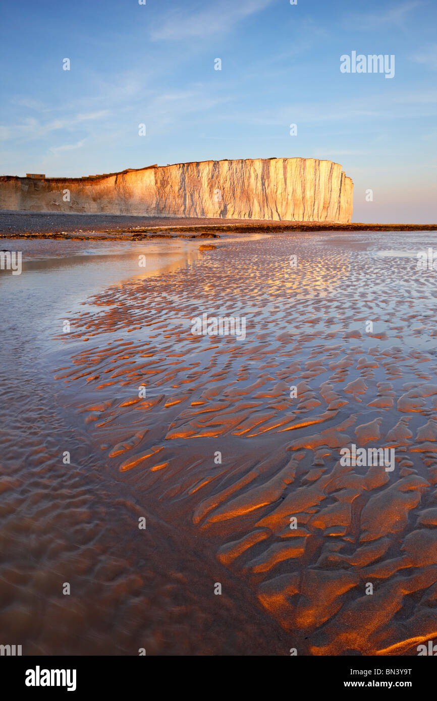 Beach view of Birling Gap looking toward the towering chalk cliffs of Beachy Head, lit by the setting sun. - Stock Image