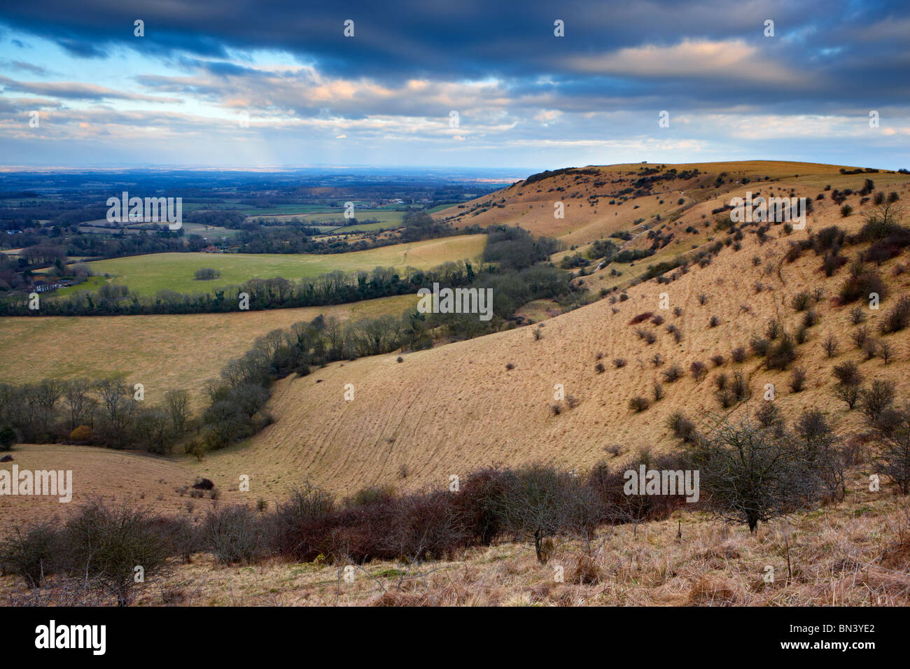 The undulating hillside of the South Downs National Park looking eastward from Ditchling Beacon along the South - Stock Image