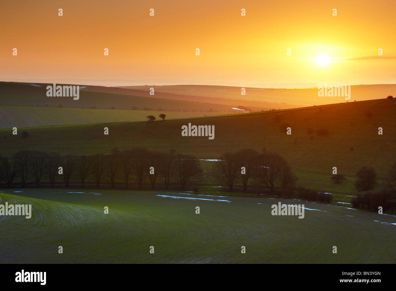 South Downs sunrise near Standean Bottom. Lying snow still visible around the edge of the fields. - Stock Image