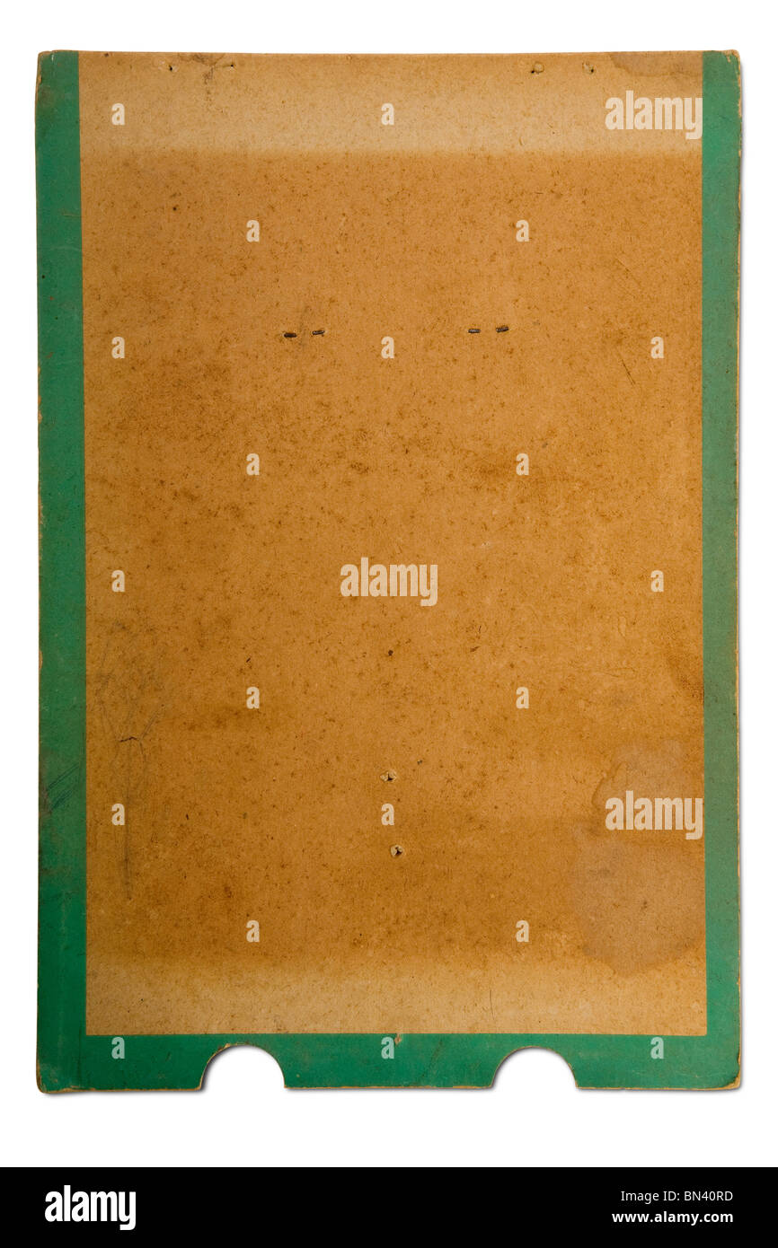 an old grunge cardboard paper on white - Stock Image