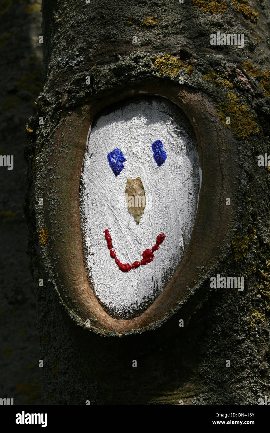 Smiling Face Painted On A Tree Trunk Taken In Blackpool, UK - Stock Image