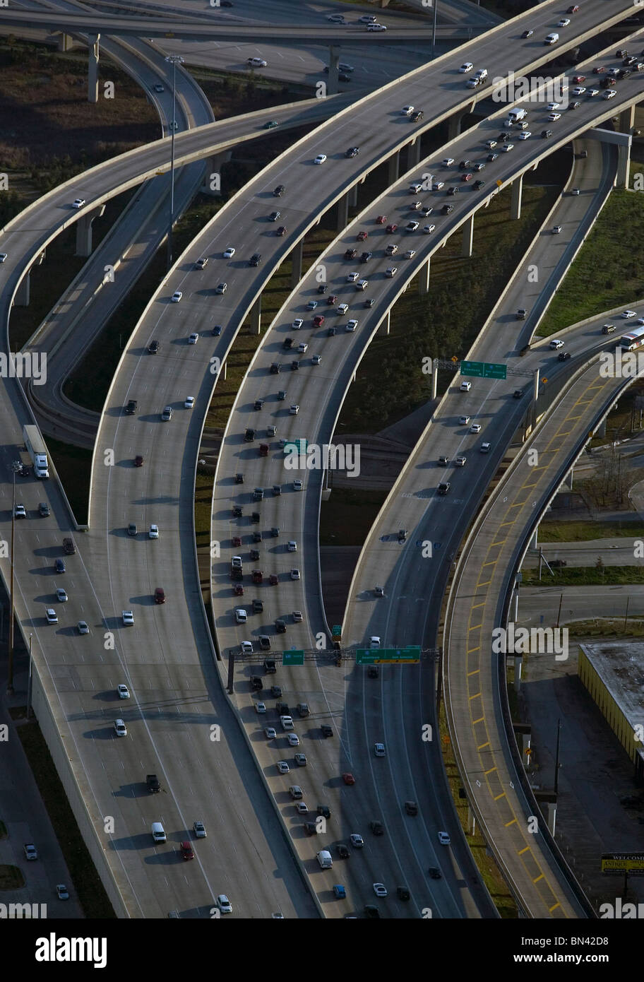 aerial view above heavy commuter automobile trafffic freeway Houston Texas - Stock Image
